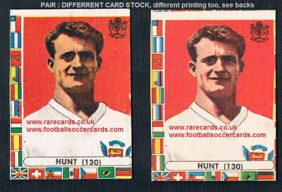 1960s Italian Lampo gum cards PAIR of  Roger Hunt Liverpool England VARIATIONS